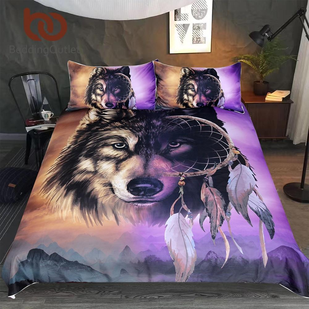 Wolf Bedding Set With Dreamcatcher Duvet Cover 3d Mountains Scenery Dream Catcher Bedding Purple Duvet Cover Purple Duvet