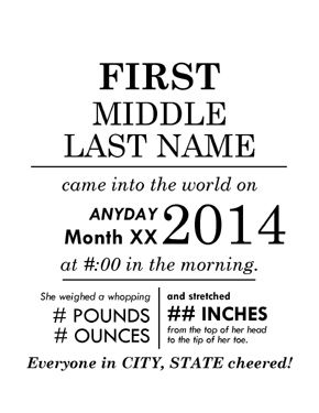image relating to Free Printable Birth Announcement Templates known as Pin upon PRINTABLES