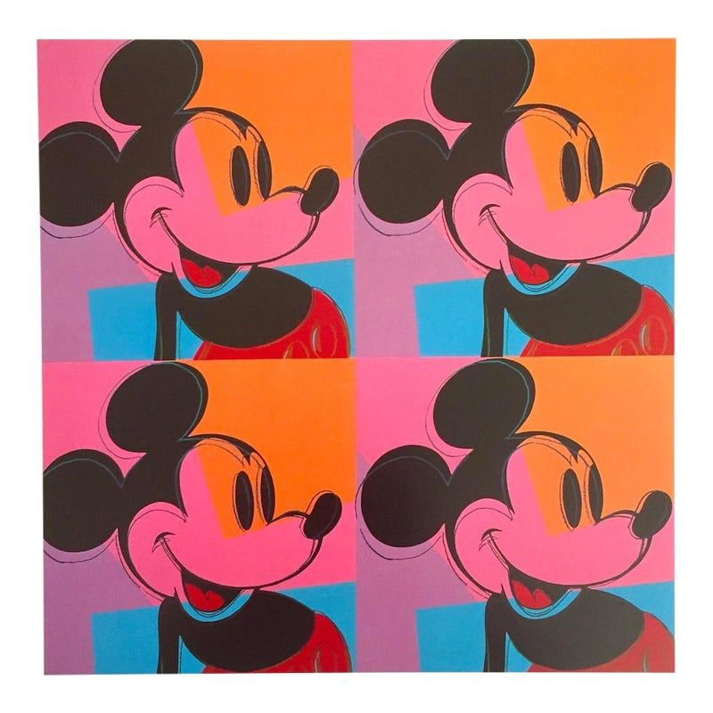 "Andy Warhol Foundation Vintage 1995 Lithograph Print Pop Art Poster "" Mickey Mouse "" 1981"
