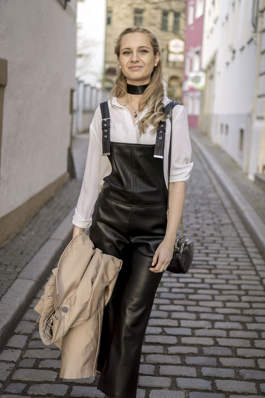 08e1edf6fdd Mango black leather dungarees pants, white Ann Tylor classic shirt, black  chocker street style fashion OOTD