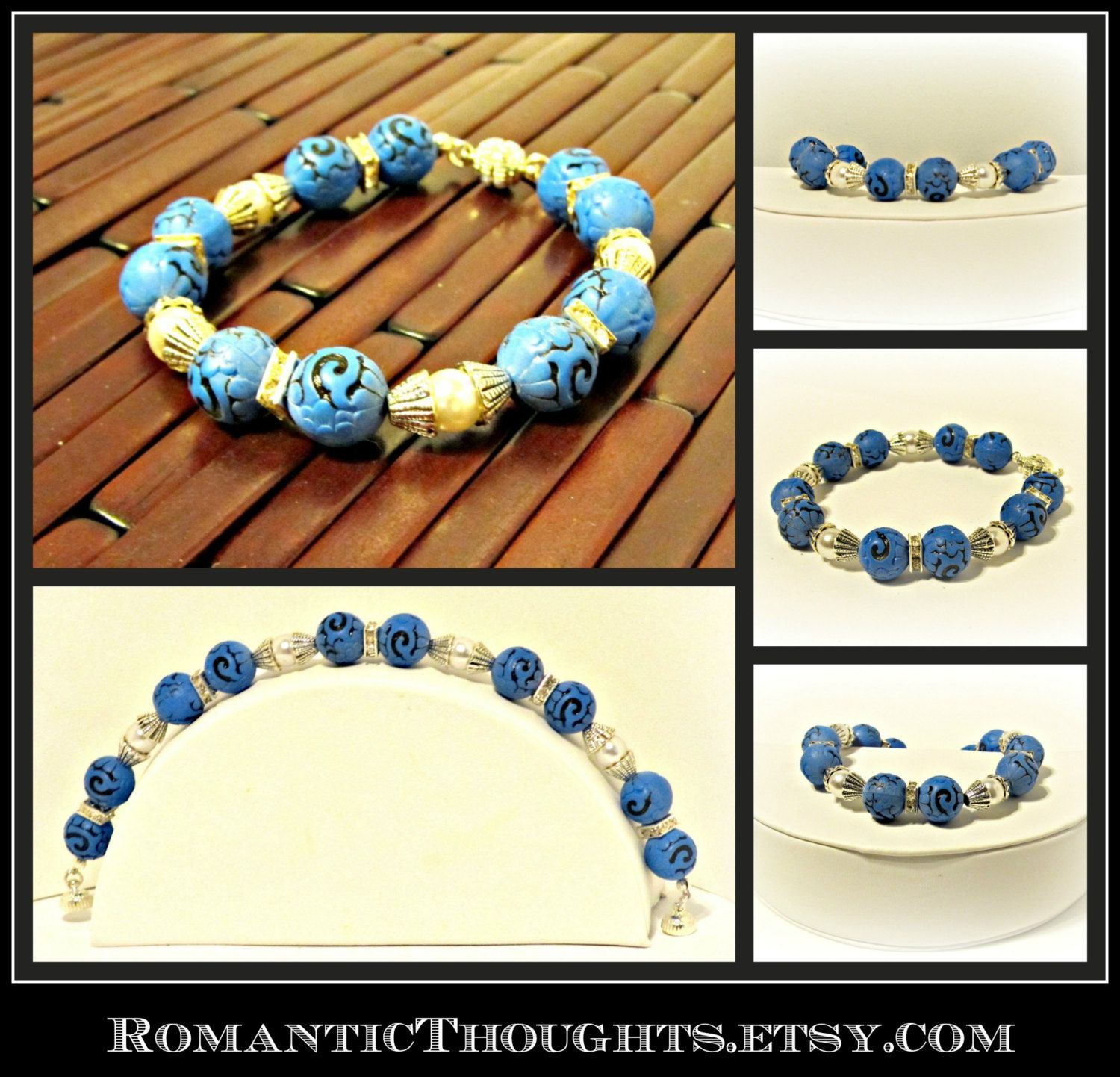 Blue Beaded Bracelet with Pearls and Crystals and Magnetic Clasp - One of a Kind, Gifts for Her, Gifts Under 50, Bridesmaid gift, Wedding by RomanticThoughts on Etsy