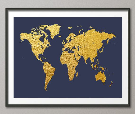 World map gold map of the world gold art print 2466 by artpause world map gold foil map of the world gold leaf art print by artpause on etsy gumiabroncs Choice Image