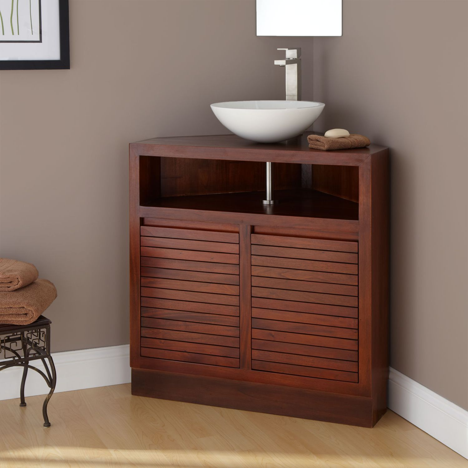 Brown Homely Modern Corner Bathroom Vanity Classic Looking