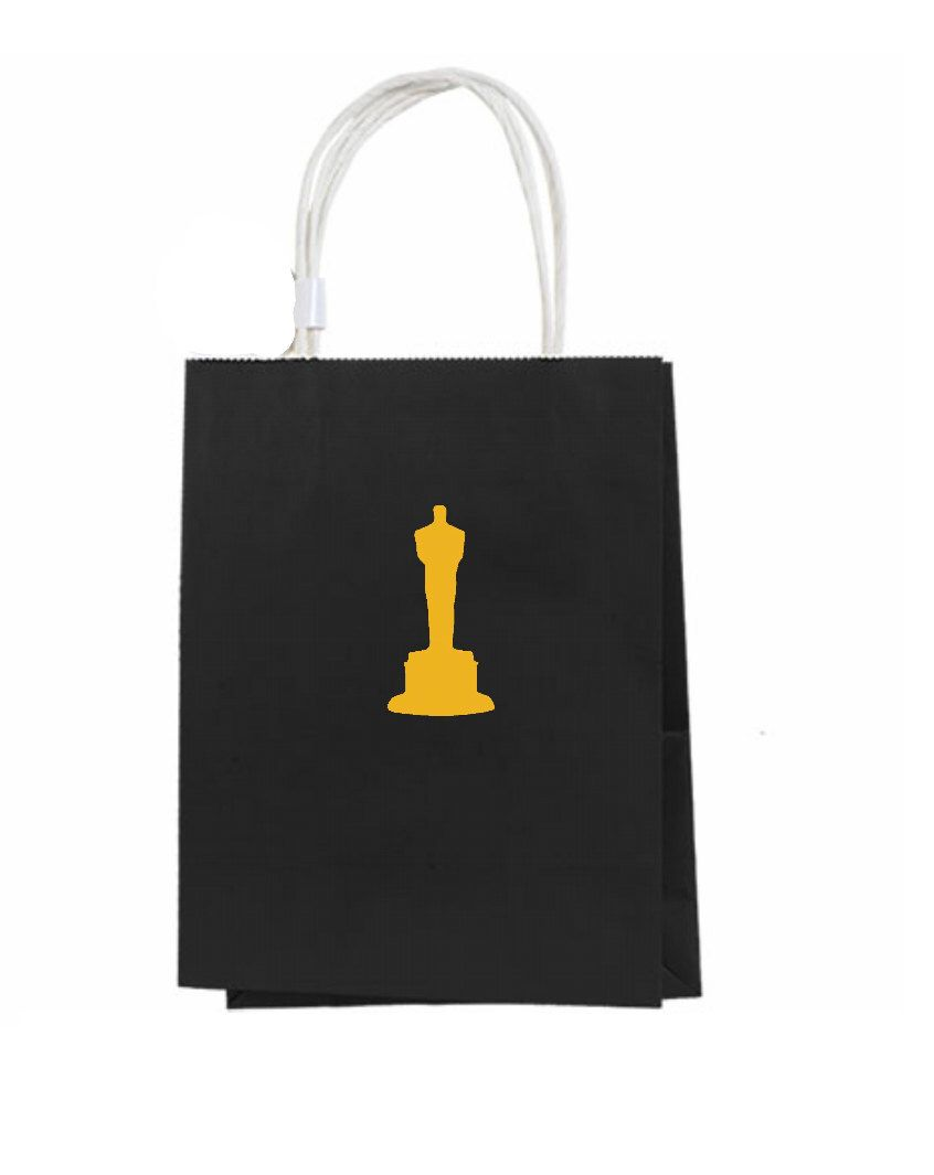 Oscar Party Gift Bags 12 Hollywood Favor With Handle Customized Personalized Black Gold Red Carpet