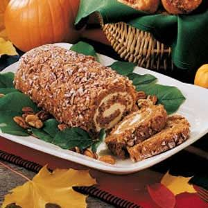 """Nutty Pumpkin Cake Roll Recipe -Roll out this well-rounded dessert from June Mullins - and get set to harvest plenty of compliments. """"It earns me rave reviews whenever I serve it,"""" attests the Livonia, Missouri mom. """"My youngest daughter shared the recipe with me. It's a hit at her house, too."""""""