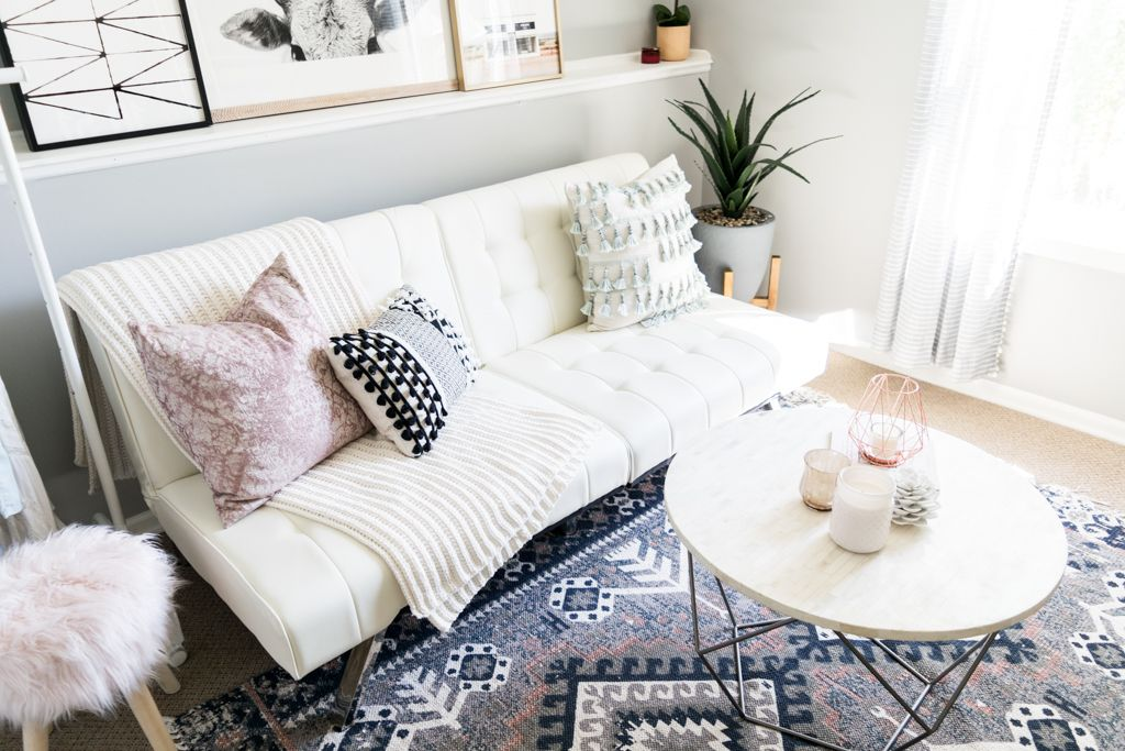 Emily Convertible Faux Leather Futon Vanilla Cute Futons Urban Outers Hana Kilim Rug West Elm Origami Table Styling Blogger Office Tour
