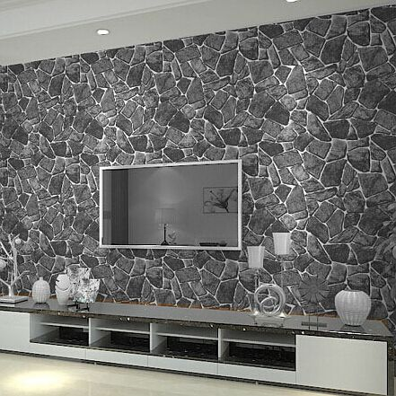 Luxury natural grey brick wall stone rock slate effect vinyl wallpaper roll in rolls sheets
