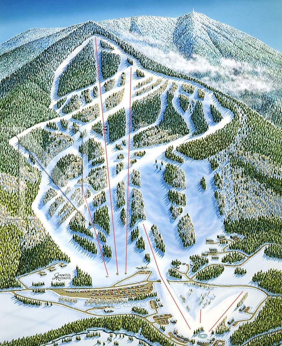Ascutney Vermont James Niehues Map Artist Ski Maps