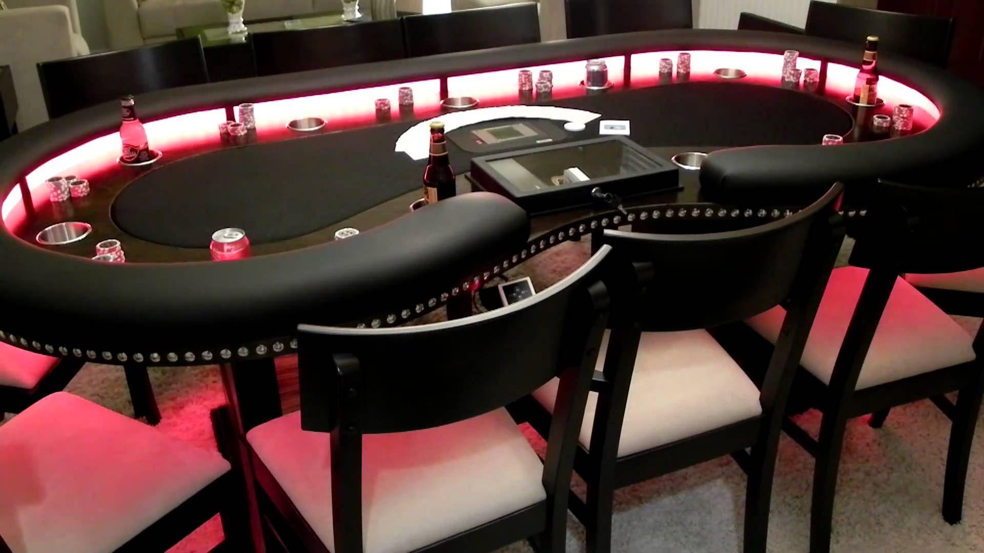 Custom Lighted Kidney Shaped Poker Table Custom poker
