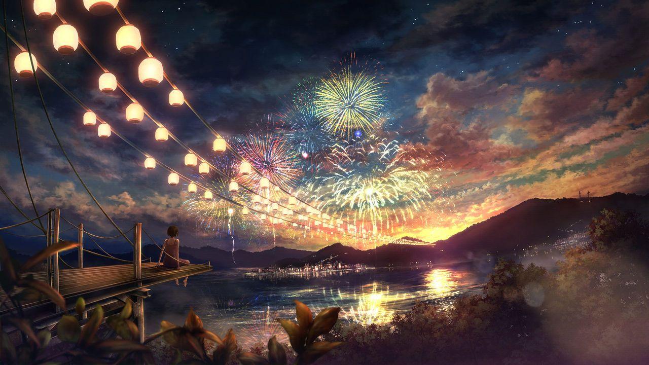広大かつ幻想的な背景に人間が一人みたいな画像ください 風景の壁紙 夏祭り イラスト 夏 風景