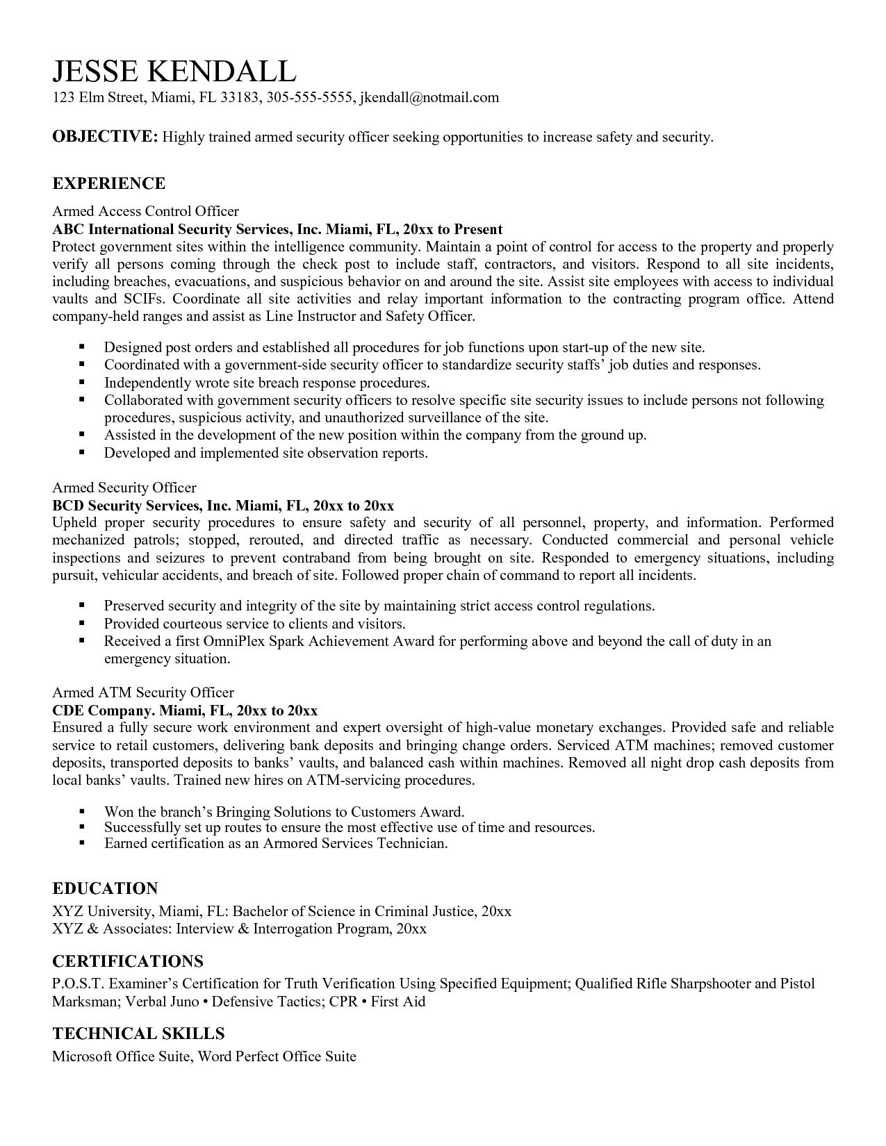 Security Guard Resume Example http//www.resumecareer