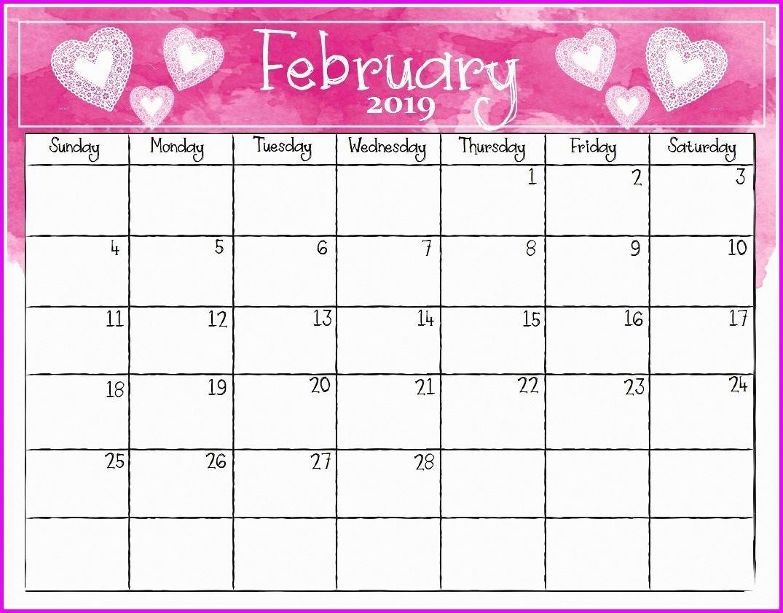 February 2019 Calendar Pink Printable Calendar Template