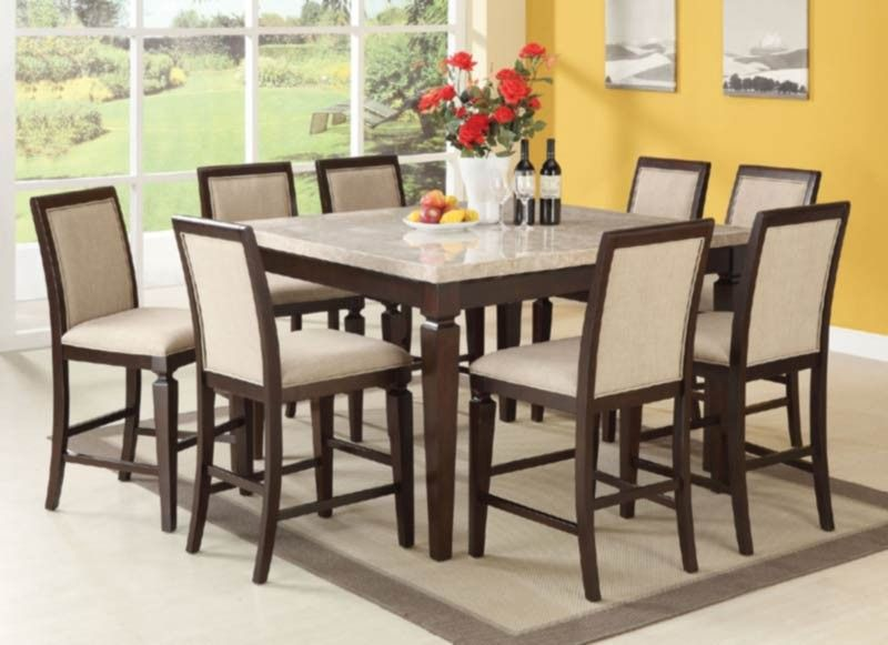 Acme Furniture Agatha 9 Piece Counter Height Table Set In Espresso 72480 9s Counter Height Dining Table Set Dining Table Marble Counter Height Dining Table