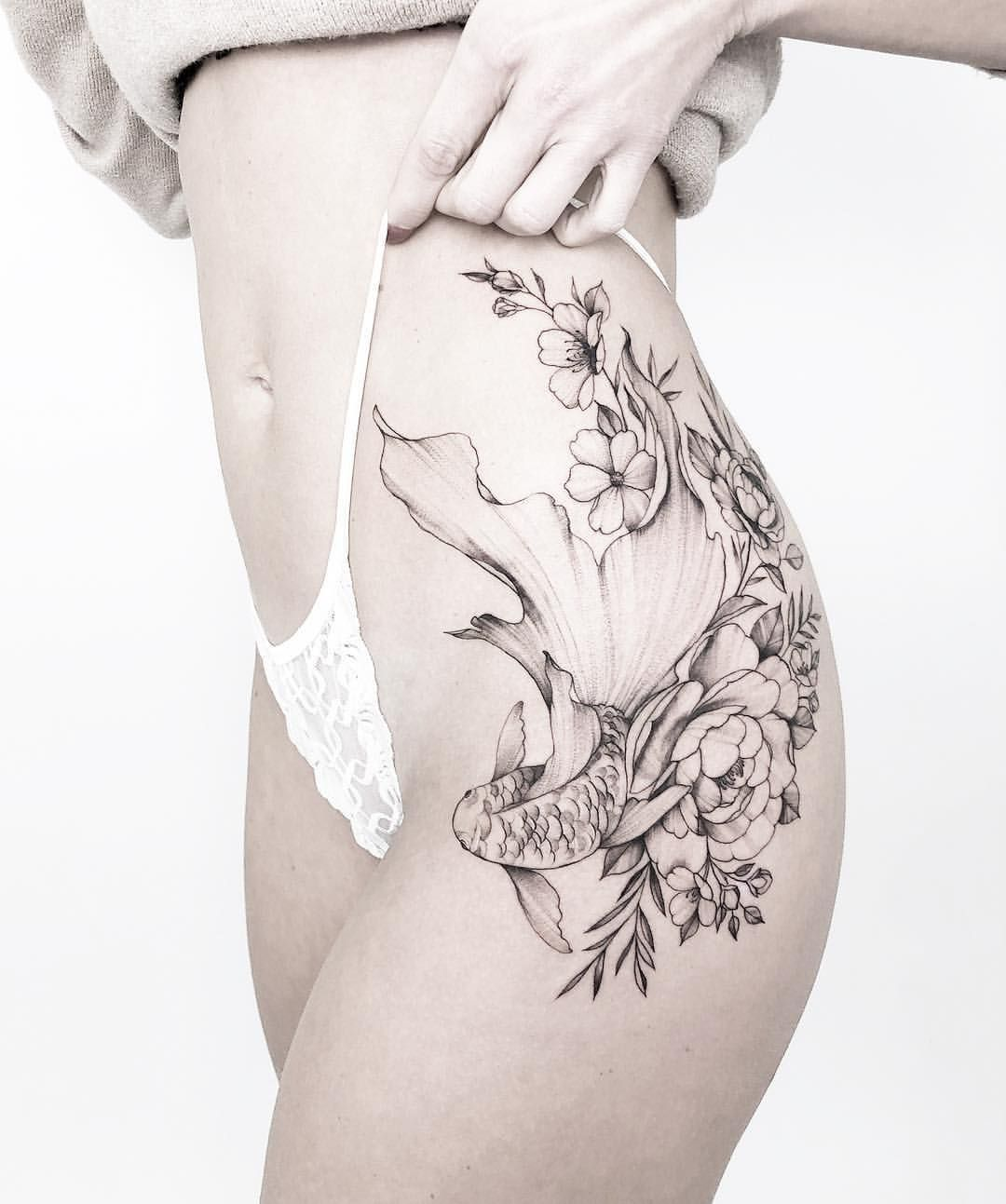 Instagram In 2020 Flower Thigh Tattoos Hip Tattoos Women Pisces Tattoo Designs