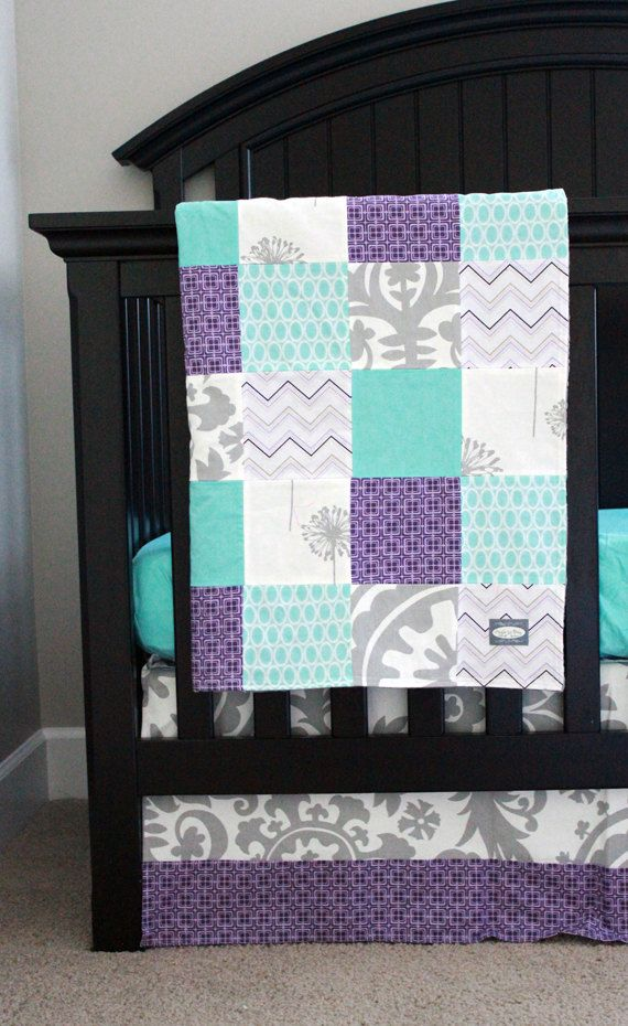 Custom baby bedding Aqua Purple and Grey by GiggleSixBaby