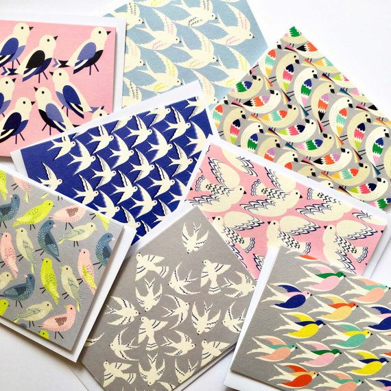 bird print multi pack of notecards  thank you cards