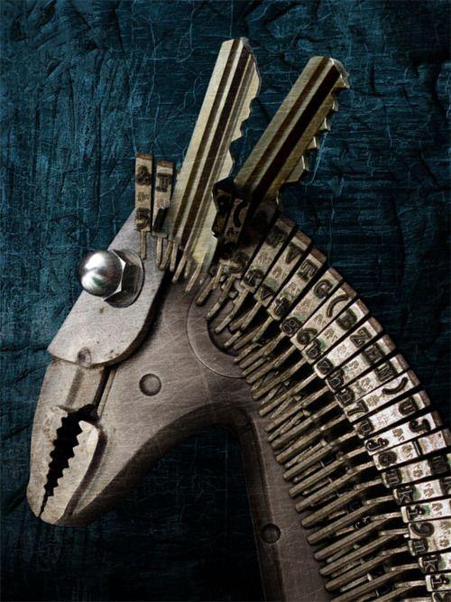 wrench, keys, typewriter keys donkey