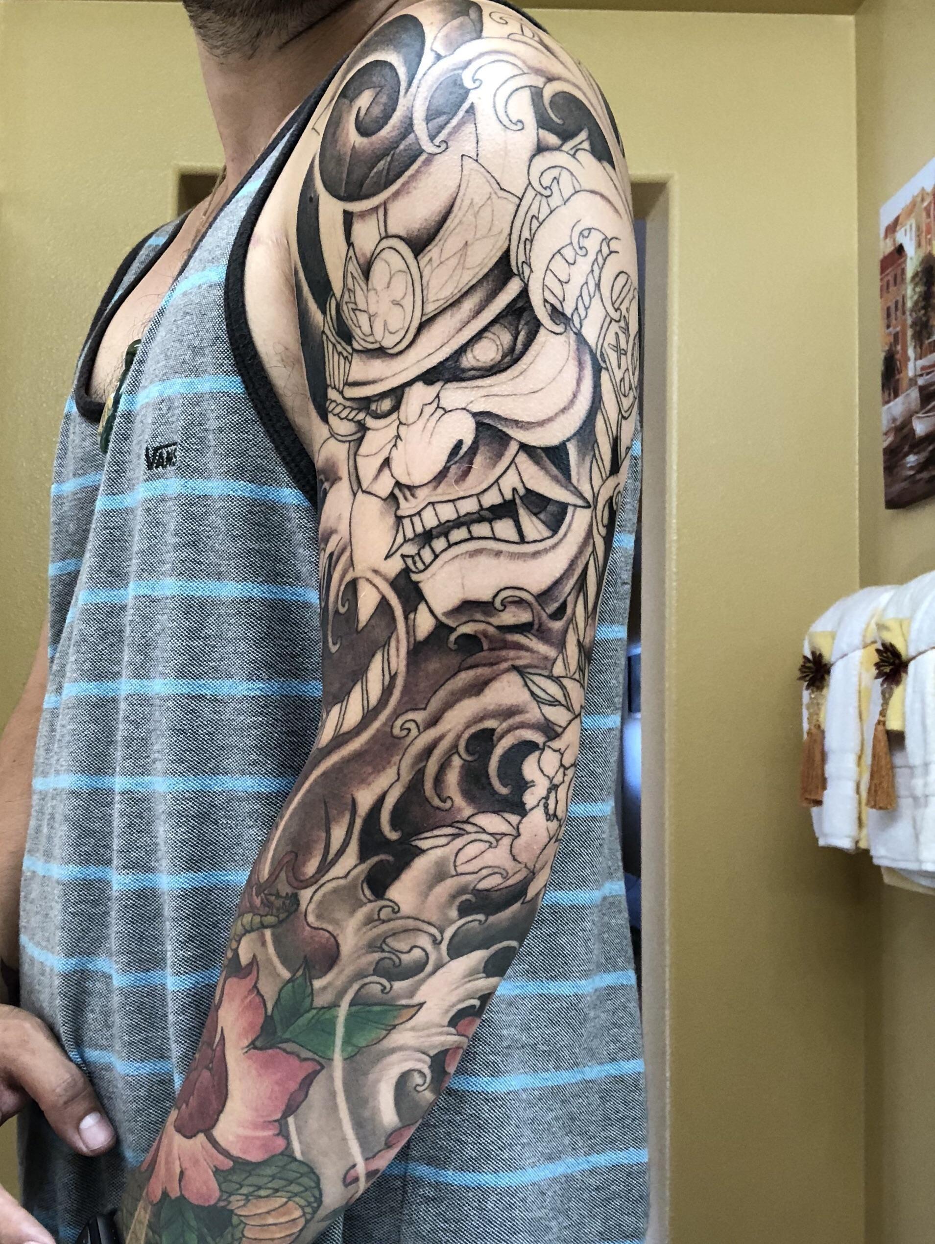 Kabuto and Snake Sleeve Progress - Anvil Tattoo Company Rosemead, CA - Alexander Trang