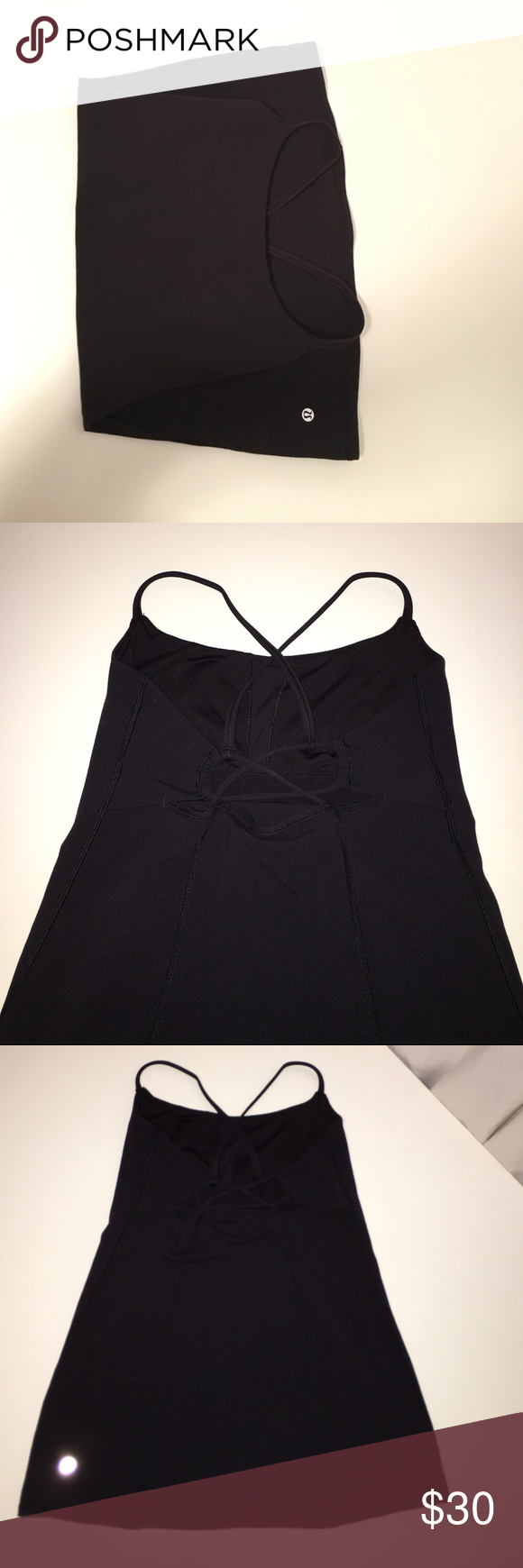 Lululemon razorback with cute detailing Wunderunder material, built in bra, like new condition. lululemon athletica Tops Tank Tops