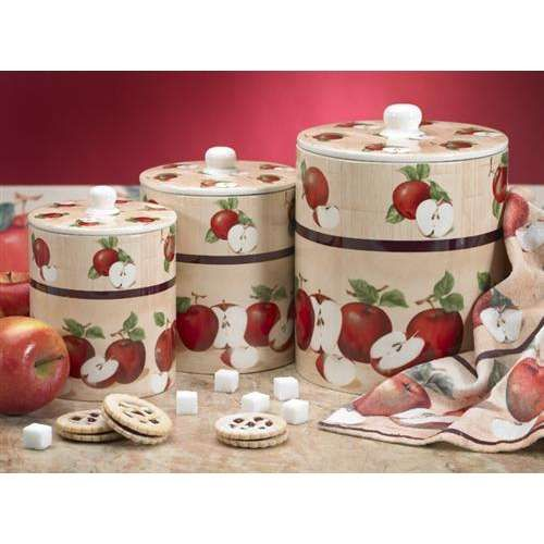 Elegant Kitchen Accessories · Image Detail For  Apple Wood 3 Piece Canister Set    Photo