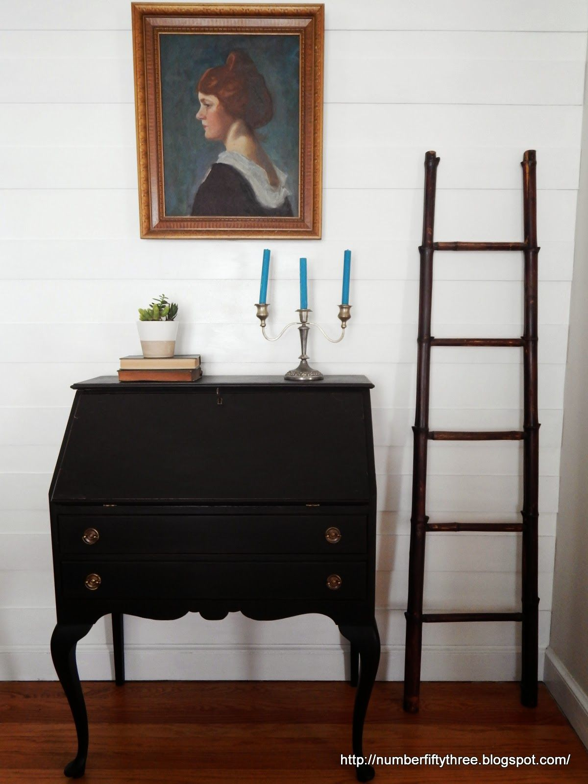 Number fiftythree traditional secretary desk in lamp black