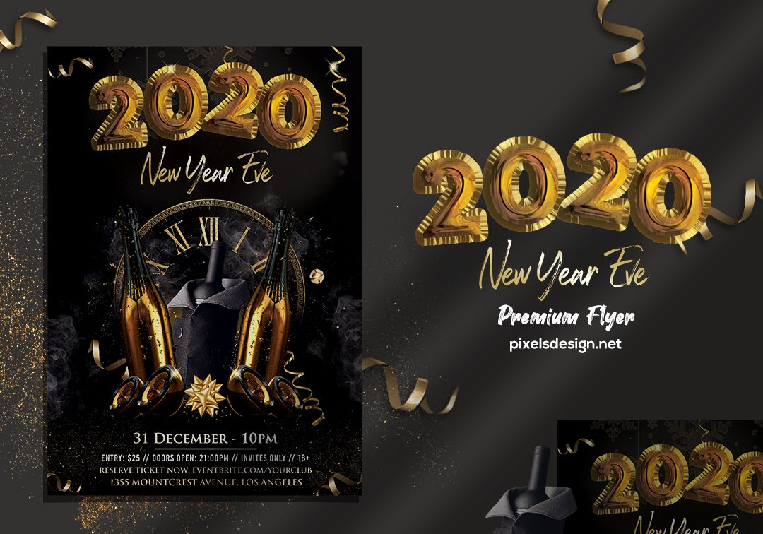 2020 New Year Eve PSD Flyer Template vol4 Psd flyer