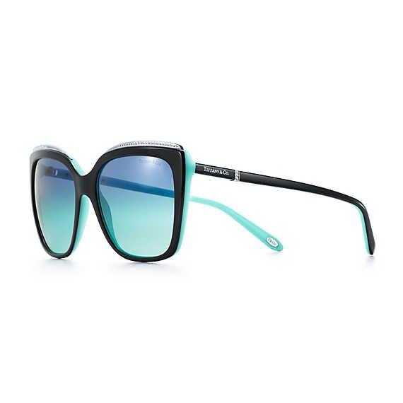 7a3b81853fc2 Tiffany Metro square sunglasses in black and Tiffany Blue acetate.