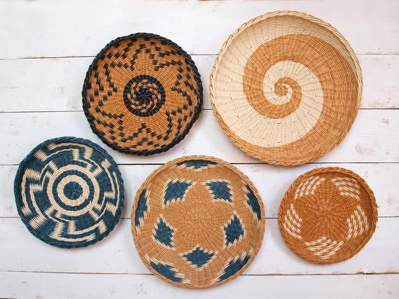 Wall Basket Set African Inspired Wicker