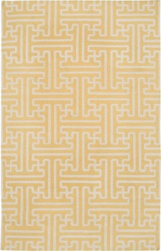 Yellow And Ivory Geometric Patterned Rug Geometric Pattern Rug