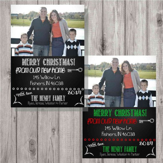 Digital Chalkboard Style Christmas New Home Card By