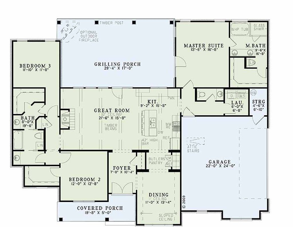 Country farmhouse main floor plan plan 17 2400 house pinterest country - Single story house plans with basement concept ...