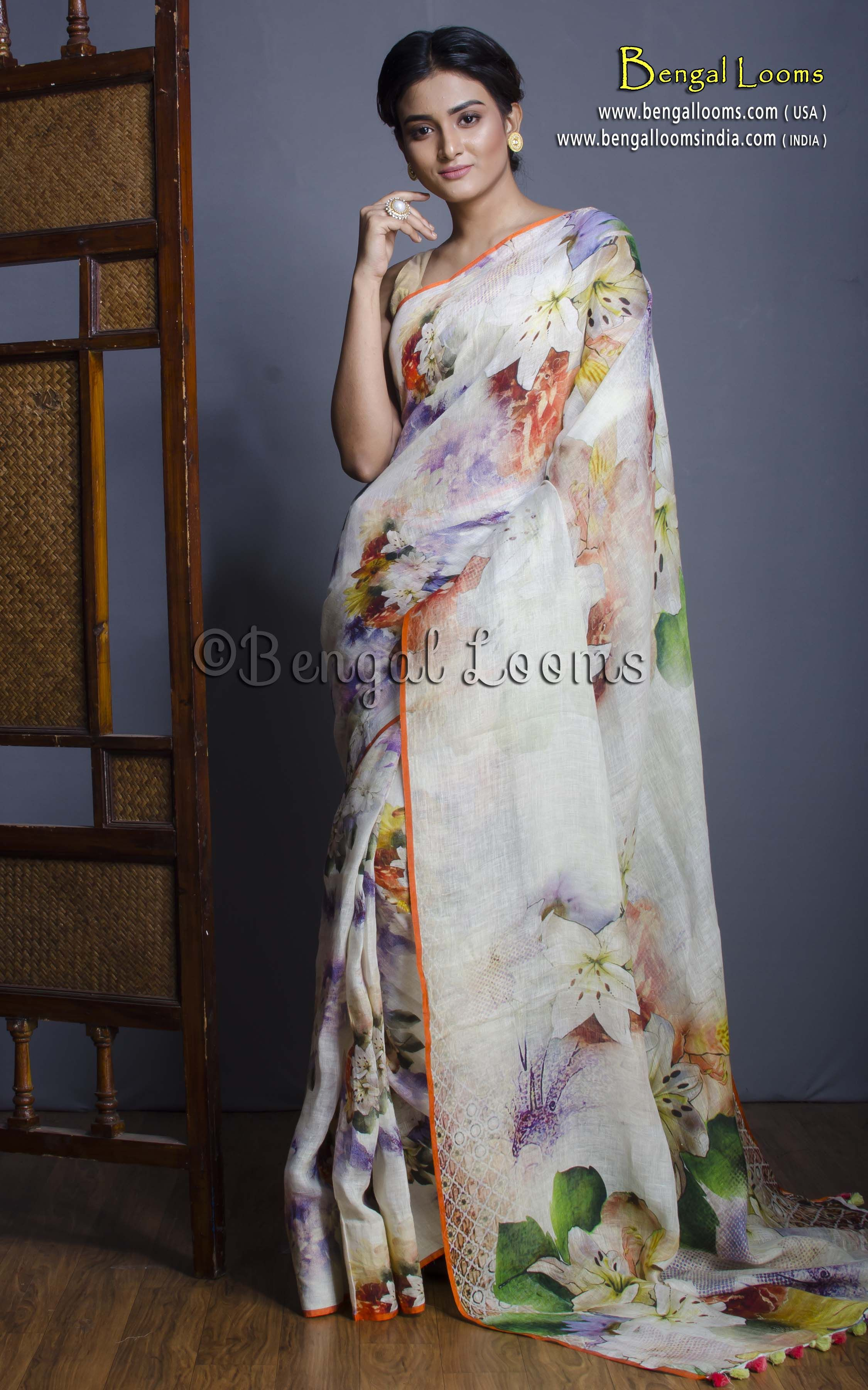94fbdbd7122bae High Thread Count Digital Printed Floral Linen Saree in Off White ...
