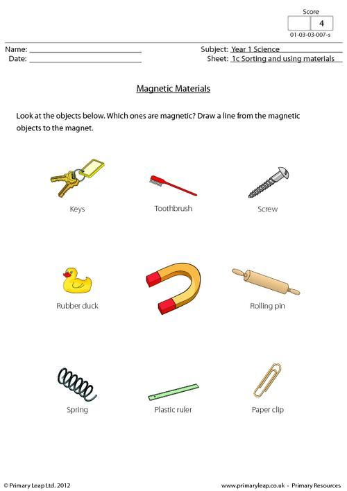 Magnetic Materials Worksheet Magnetic Material Science Magnet Unit Magnets worksheets 2nd grade