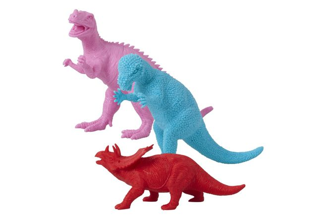 Pink, blue and red dinosaur toys by Rice DK, as featured on Bobby Rabbit