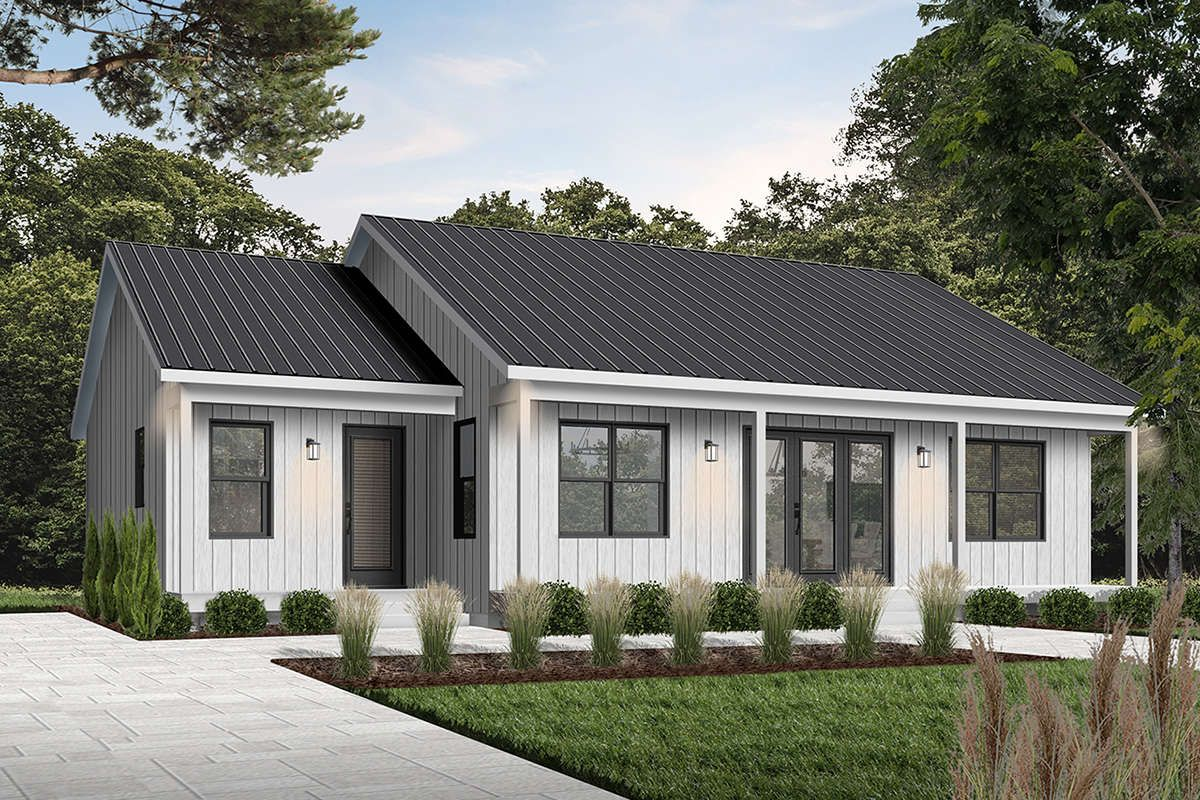 House Plan 034 01226 Ranch Plan 1 604 Square Feet 2 Bedrooms 2 Bathrooms In 2021 Cottage Style House Plans Modern Ranch Modern Style House Plans