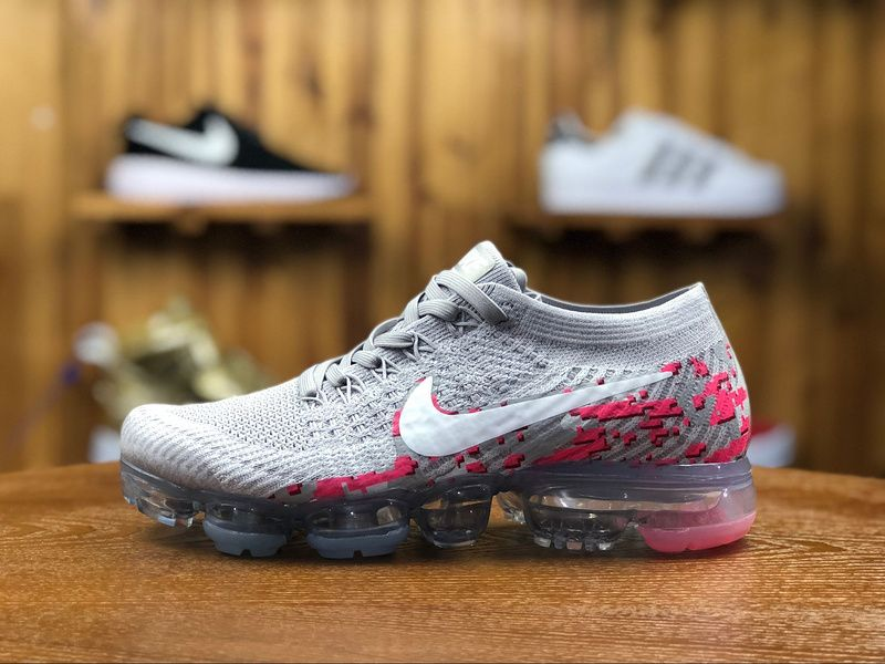 timeless design aa114 07229 2018 Nike Air Vapormax Flyknit Girls Shoe Wolf Gray Pink ...