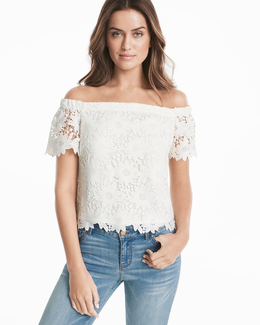c6c7d8d716b16e Women s Off-the-Shoulder Lace Crop Bodice Top by White House Black Market