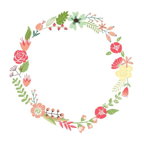 Floral Frame. Cute Retro Flowers Arranged Un A Shape Of The Wreath ...