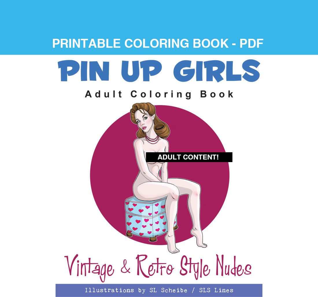 Adult coloring book pdf pin up girls retro style nude coloring adult coloring book pdf pin up girls retro style nude coloring book instant download fandeluxe Image collections