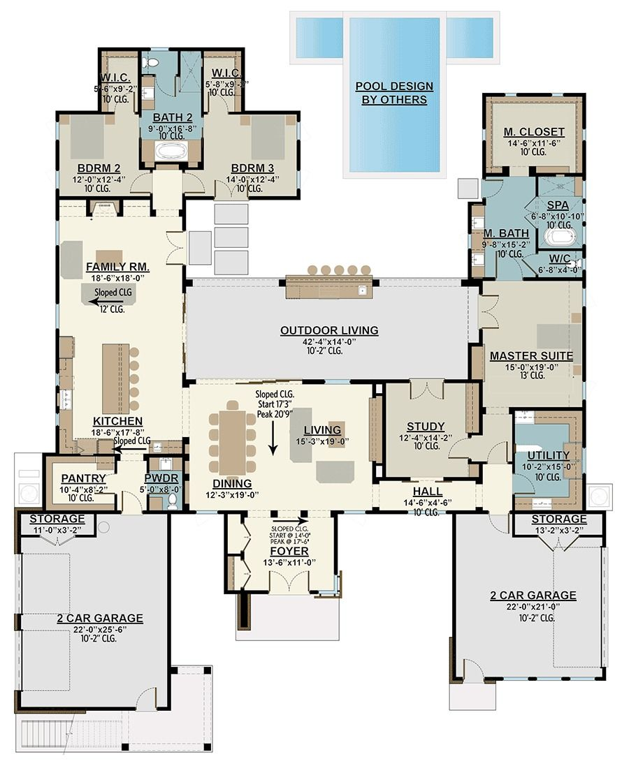 Plan 430006ly 4 Bed Modern House Plan With Upstairs In Law Suite Modern House Plan Dream House Plans House Plans