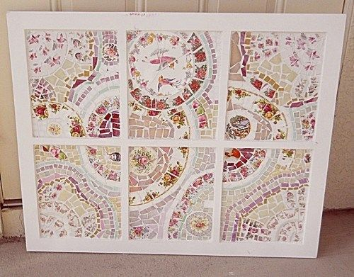 Shabby Chic Window Sash Pane Mosaic Wall Art Broken China Plate Rim