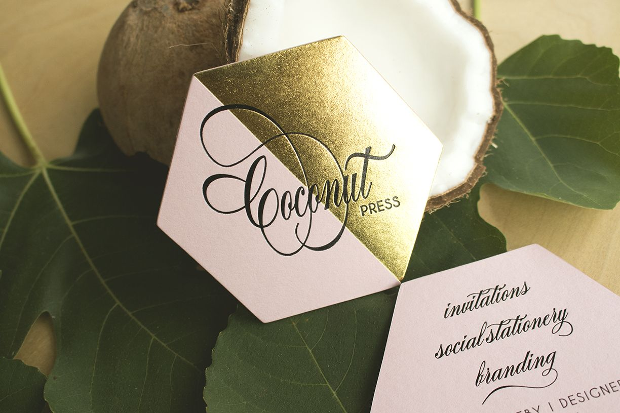 Coconut Press business cards printed by Rise & Shine