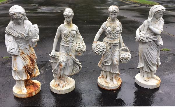 Antique Cast Iron Garden Statue Group