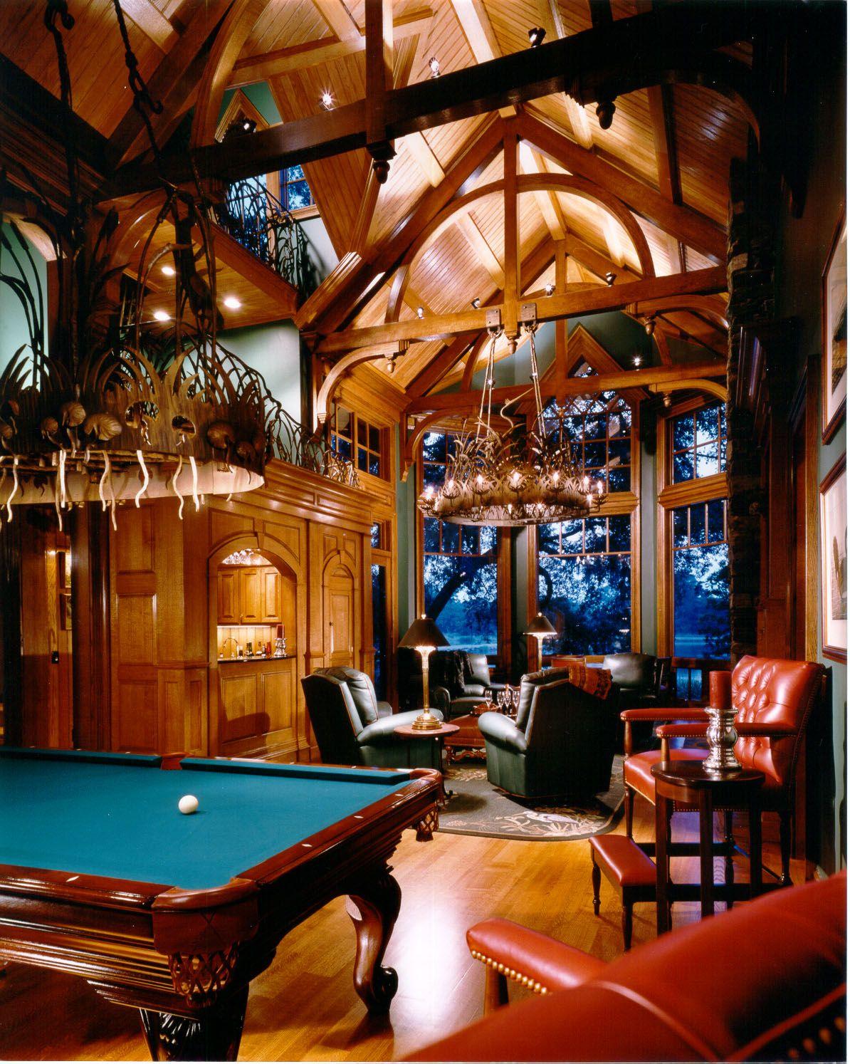 Rec Room Bar Designs: Great Room, Custom Woodwork. Exposed Beam Work Bray's