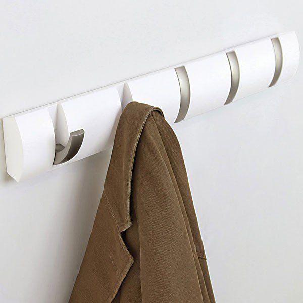 Umbra Flip Hook - White - 5 hook coat rack