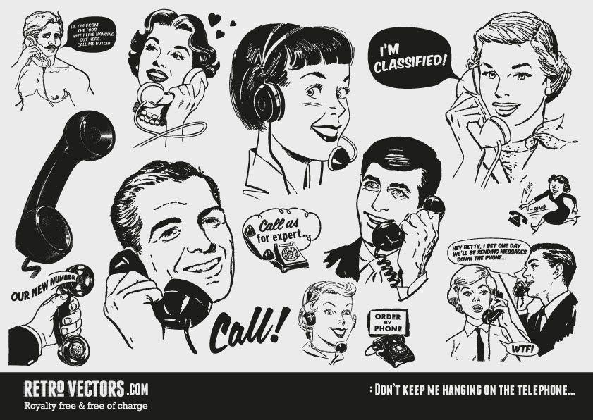Retro Vector Graphics Hanging On The Telephone Retro Vector Clip Art Vintage Retro Illustration