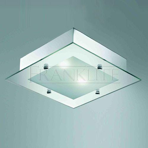 Shower fan light chrome square bathroom ceiling light satin glass franklite cf1319 for for Square bathroom ceiling light