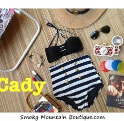 Cady Retro High Waist Swimsuit - Black Top / White and Black Striped Bottoms