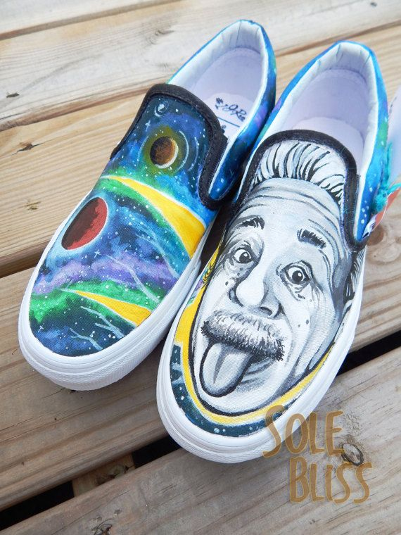 c4e7ee47e45 Albert Einstein Galaxy Hand Painted Canvas Slip On Shoes - Custom Order  VANS TOMS - SoleBliss