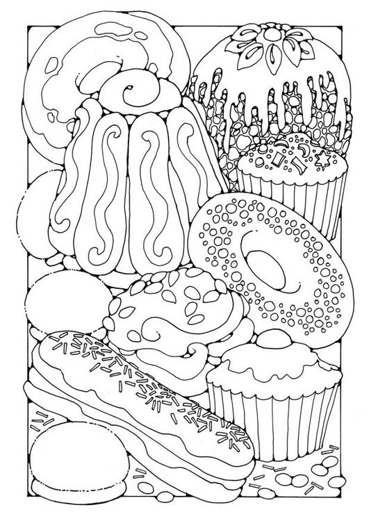 Coloring page Pastry | imprimibles | Pinterest | Adult coloring ...